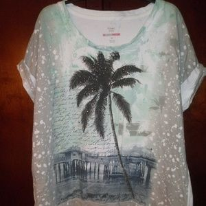 Style & Co Sport Palm Tree Beach Sweatshirt XL